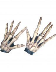 Luvas curtas ossos esqueleto adulto Halloween