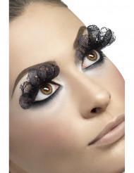 Falsas pestanas véu preto mulher