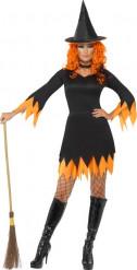 Disfarce bruxa laranja e preto mulher Halloween