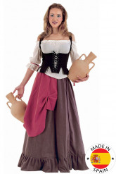 Disfarce empregada de mesa medieval mulher
