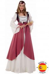 Disfarce Medieval rosa mulher