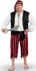 Disfarce pirata cinto preto homem