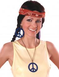 Brincos e medalha Hippie Azul