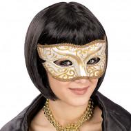 Máscara veneziana arabescas douradas adulto