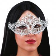 Máscara metálica prateada pérolas brancas adulto