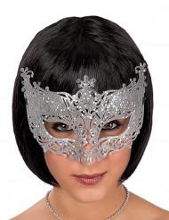 Máscara veneziana com renda prateada adulto