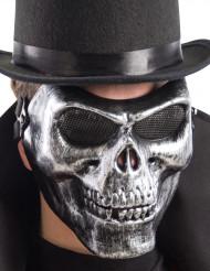 Meia máscara esqueleto prateado adulto