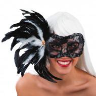 Máscara com renda preta penas adulto