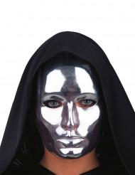 Máscara cara prateada cromada adulto