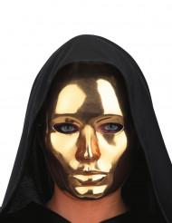 Máscara cara dourada cromada adulto