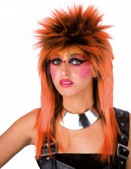 Peruca punk laranja adulto