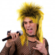 Peruca punk amarela adulto