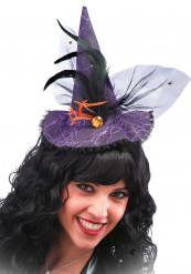 Mini chapéu bruxa renda violeta adulto