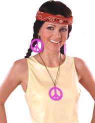 Brincos e medalha Hippie Rosa