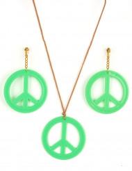 Brincos e medalha Hippie Verde