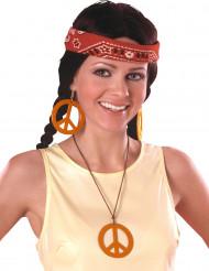 Brincos e medalha Hippie Laranja