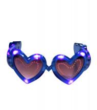 Óculos coração azuis LED