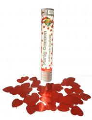 Canhão de confetis corações vermelhos 30 cm