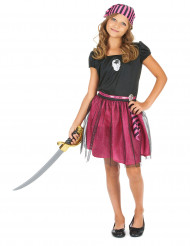 Disfarce pirata cor de rosa rapariga