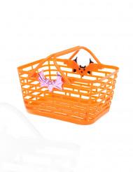 Cesto cor de laranja para rebuçados Halloween