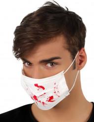 Máscara branca manchas de sangue Halloween