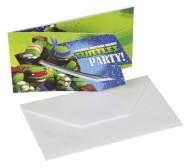 Set de 6 convites + envelopes Tartarugas Ninja™