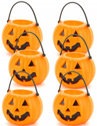 Lote de 6 baldes abóbora halloween