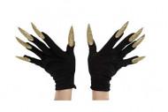Luvas pretas com unhas enormes douradas adulto