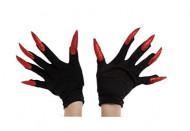 Luvas pretas com unhas enormes vermelhas adulto