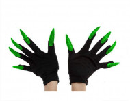 Luvas pretas com unhas enormes verdes adulto