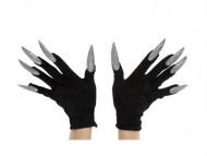 Luvas pretas com unhas enormes prateadas adulto