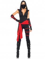 Disfarce ninja preto sexy mulher