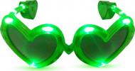 Óculos coração verdes LED