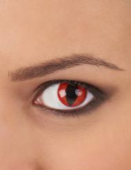 Lentes fantasia olho réptil vermelho adulto
