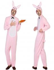 Disfarce coelho branco e cor-se-rosa adulto