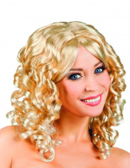 Peruca encaracolada loira com franja mulher