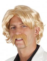 Peruca loira com bigode homem