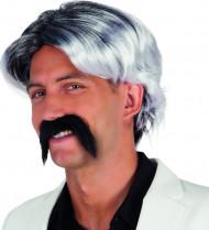 Peruca cinzenta com bigode homem
