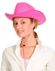 Chapéu cowboy cor-de-rosa adulto