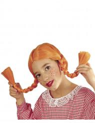 Peruca com tranças cor de laranja menina