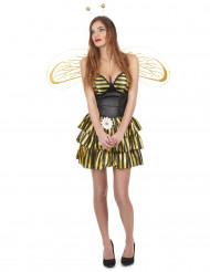 Disfarce abelha mulher preto e dourado