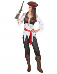 Disfarce pirata branco e castanho mulher