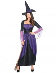 Disfarce de bruxa roxo mulher