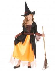 Disfarce de bruxa cor de laranja menina