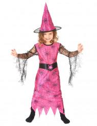 Disfarce bruxa aranha rosa menina