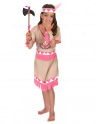 Disfarce de índia menina franjas cor-de-rosa