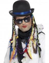 Chapéu cantor com tranças coloridas