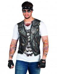 T-shirt casaco motard tatuagem adulto