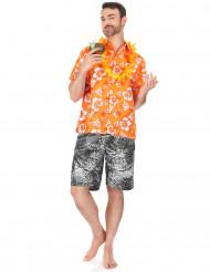 Camisa havaiana cor de laranja homem