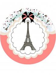 8 Pratos de cartão Torre Eiffel